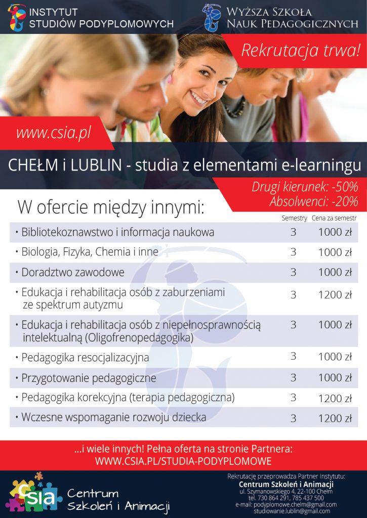 Studia podyplomowe pedagogiczne online w Chełmie i Lublinie
